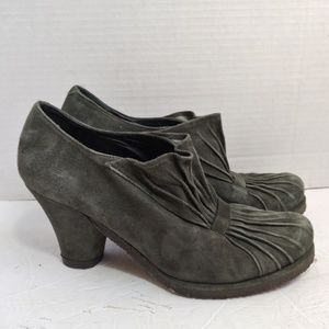 Anthro Audley of London green suede boots